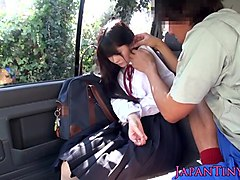 cumswallowing asian schoolgirl in the car