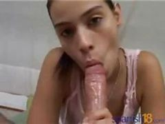 Spanish Brunette Teen Sol Giving A Pov Blowjob On His Cock