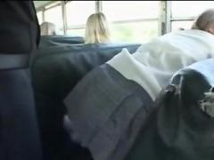 Blonde Girl And Asian Guy In The Bus