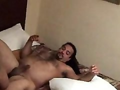 white hairy chubby daddy bear gets fucked by his black bbw shemale friend