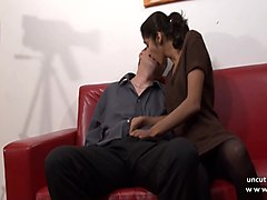 casting amateur french couple with a young brunette analyzed