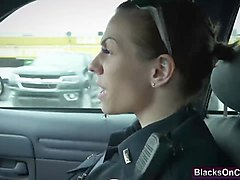 Busty police sluts banging a black dude