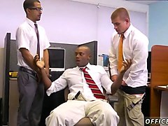 bald black man gets gangbanged so well in the office