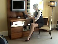 Blonde white ff stockings heels business suit