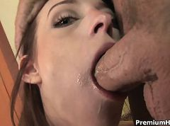 Riley Shy sucking and getting facial