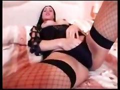 Sexy Brunette Shemale Strokes And Cums